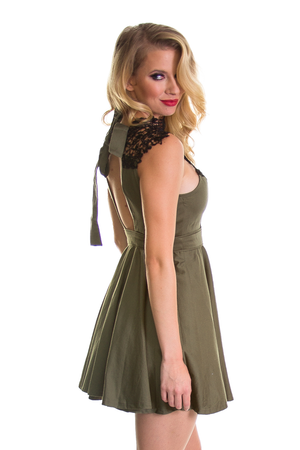 Olive Crochet Neckline Dress