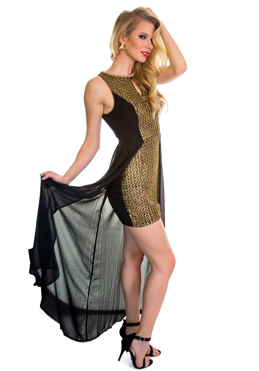 High Low Gold Sequined Dress