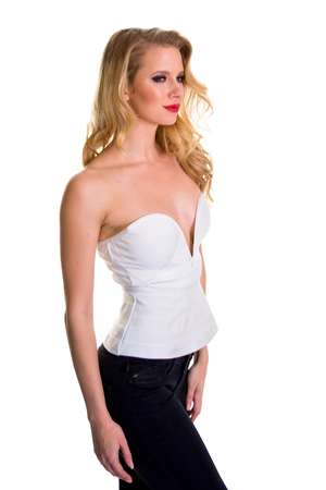 White Deep Cut Peplum Top