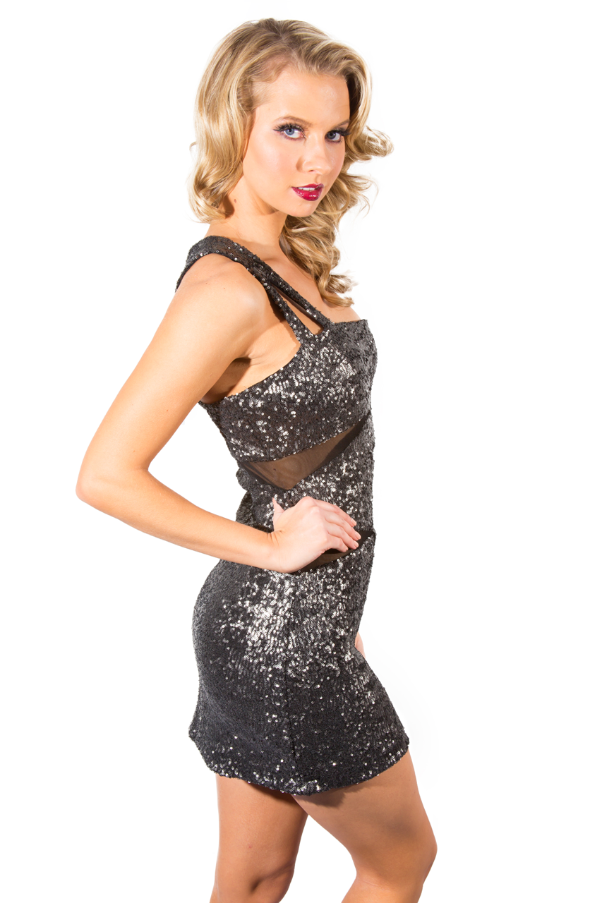 Olive Mesh Sequined Shoulder Dress