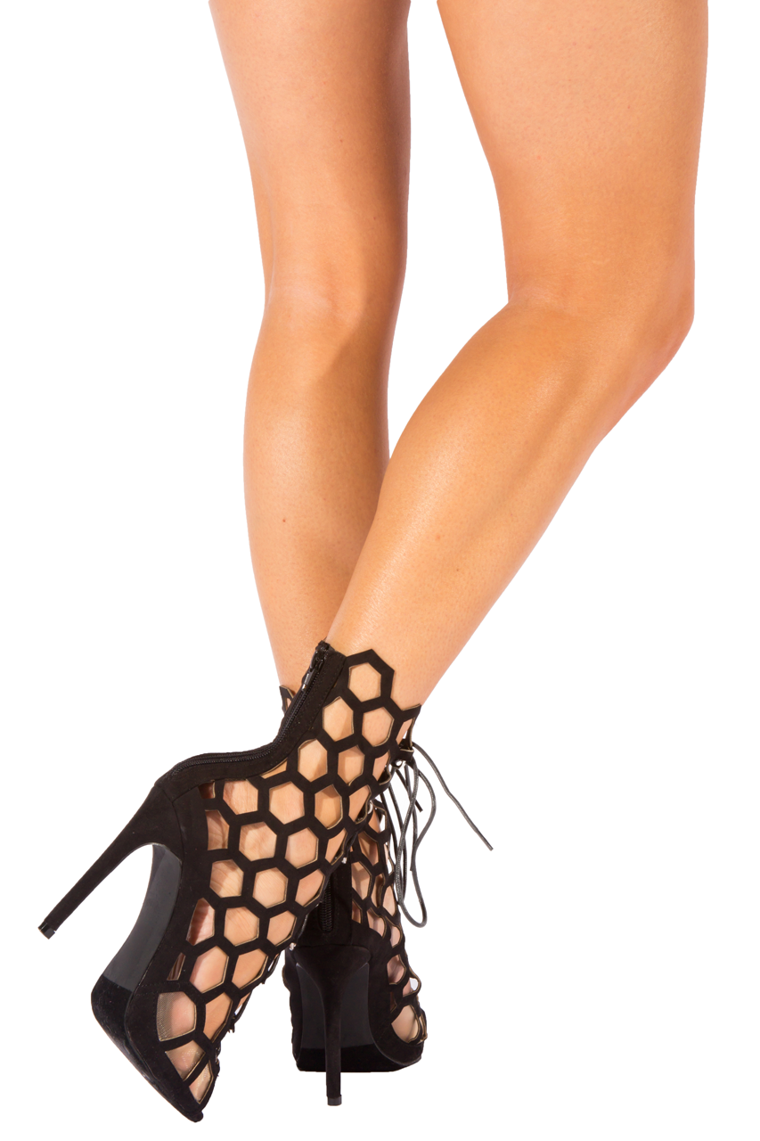 Black Cut Out Hexagon Heels