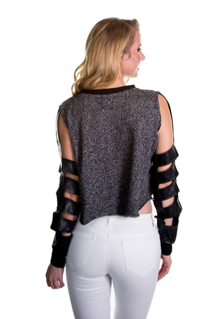 Faux Leather Cut Out Crop Top