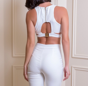 White Cutout Back Crop Top
