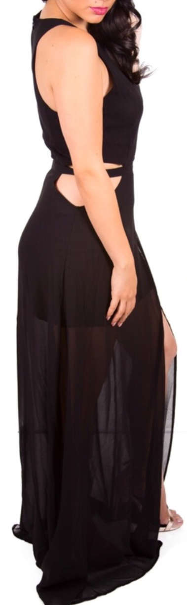 Sheer Cut Out Maxi Dress