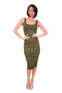 Olive Double Lined Ruched Midi Dress