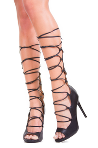 Black Peep Toe Lace Up Heels
