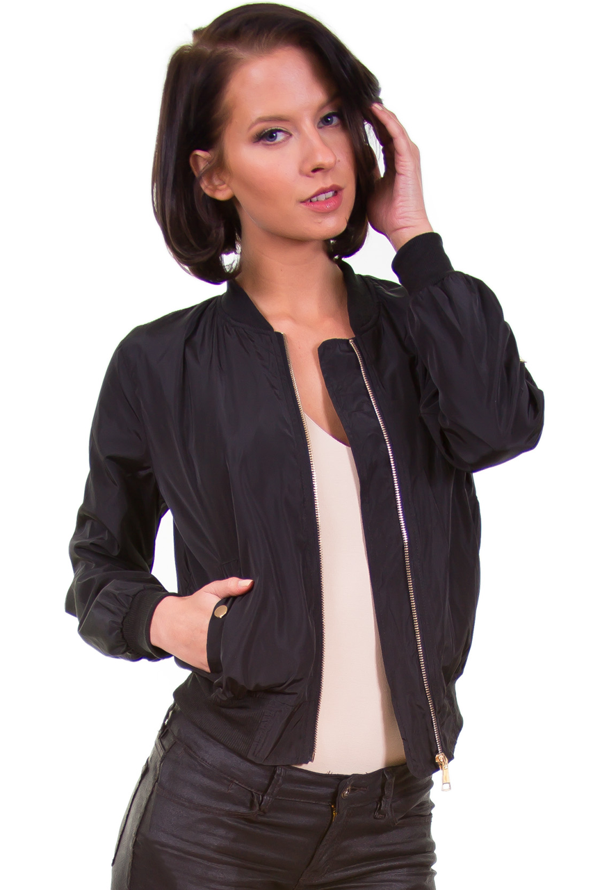 Black Lightweight Bomber Jacket