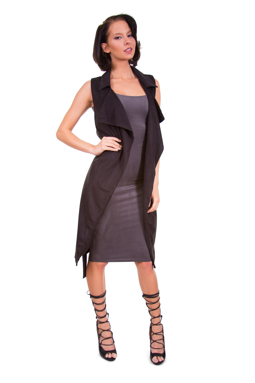 Charcoal Suede Midi Dress