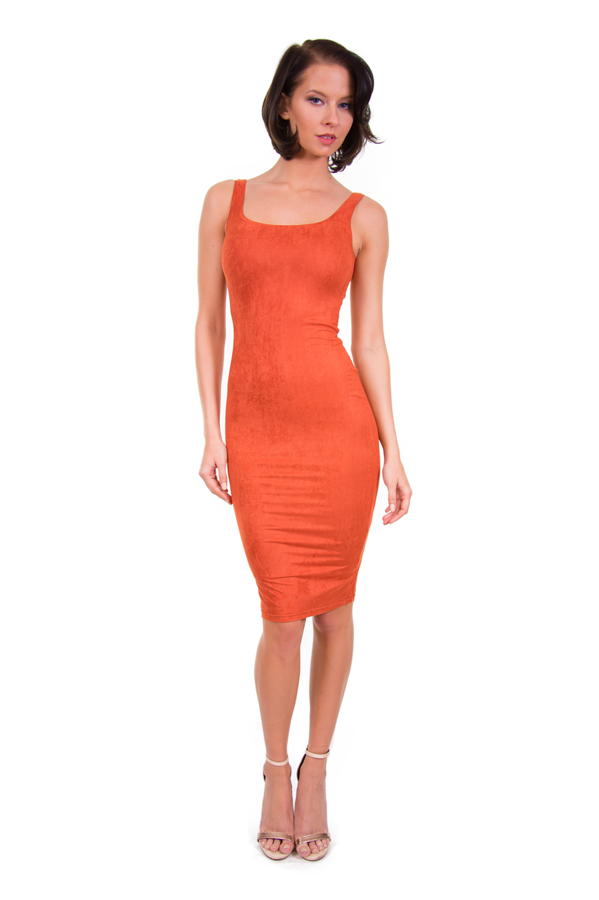 Rust Suede Midi Dress