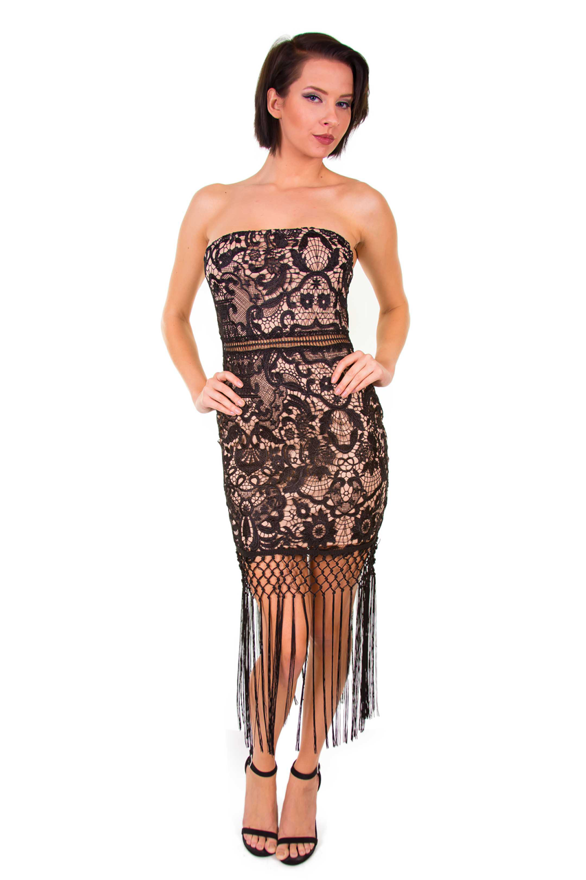Embroidered Lace Fringe Dress
