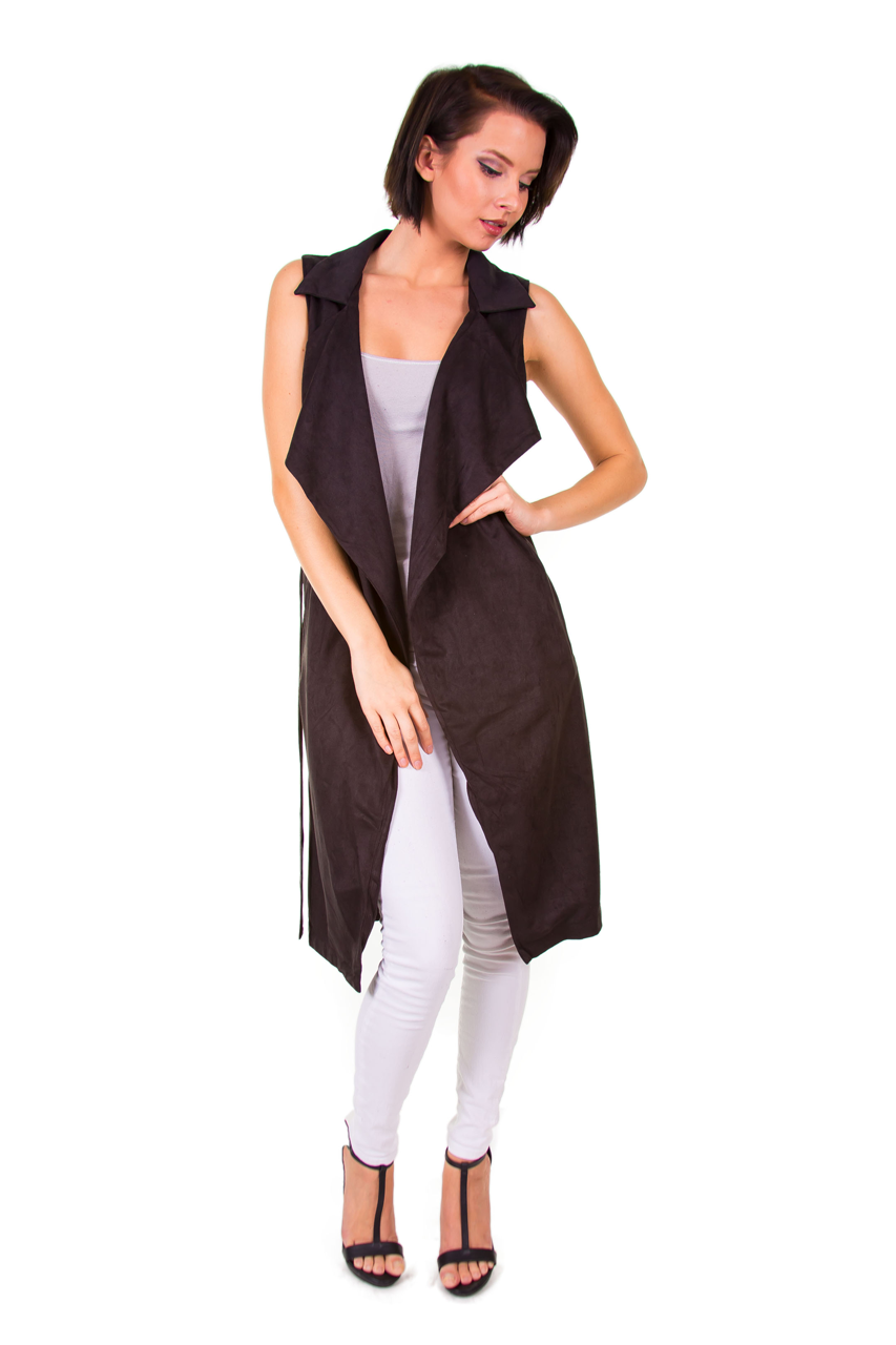 Faux Suede Sleeveless Black Trench Coat
