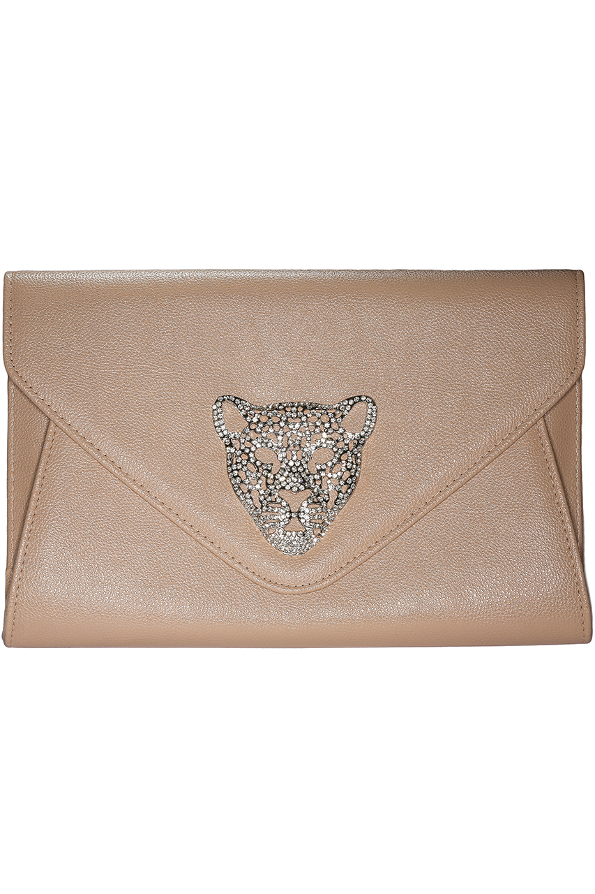Tiger Envelope Beige Clutch