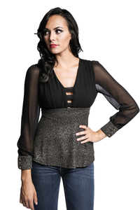 Mesh Sleeve Peplum Top