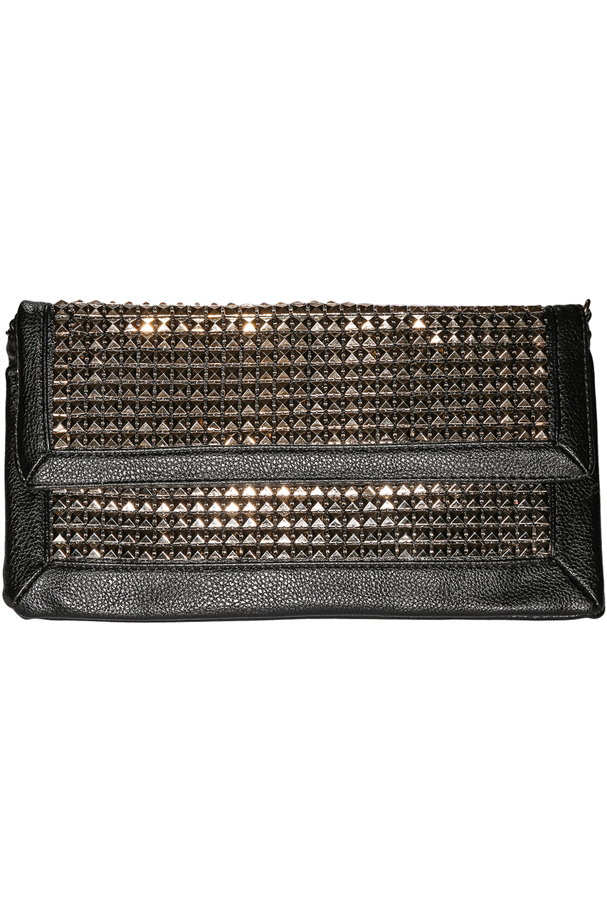 Metallic Studded Gold Clutch