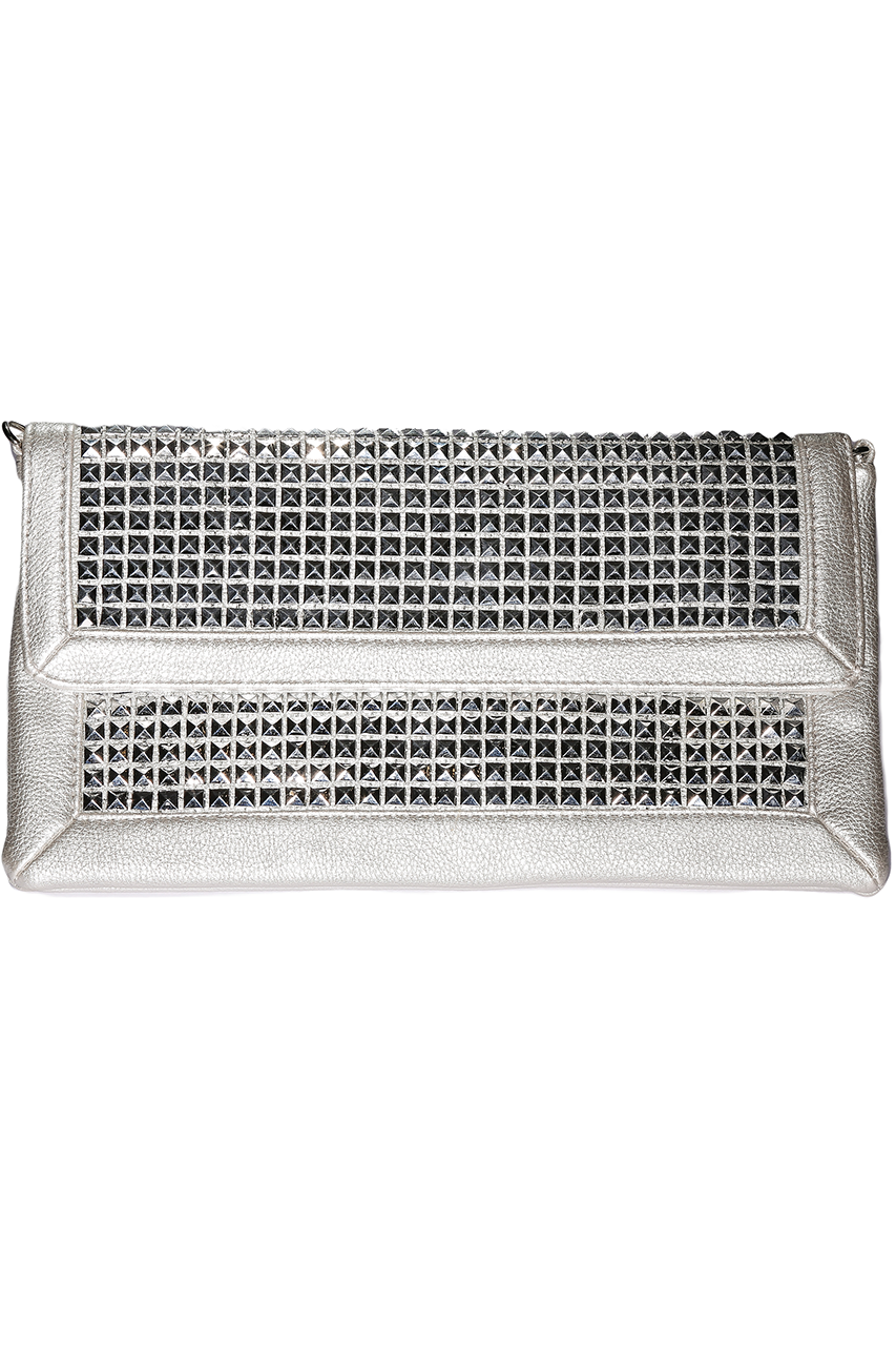 Metallic Studded Silver Clutch