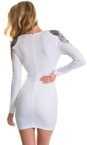 Long Sleeve White Beaded Shoulder Dress