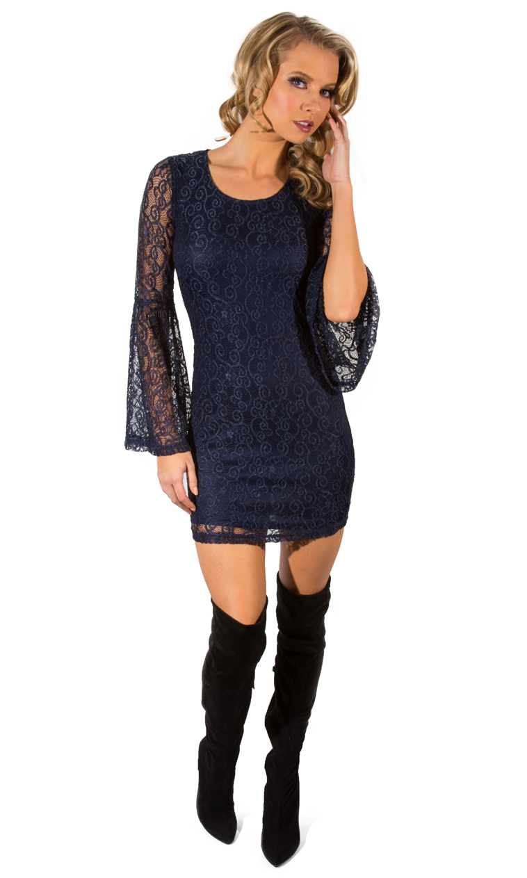 Navy Bell Sleeve Mini Dress