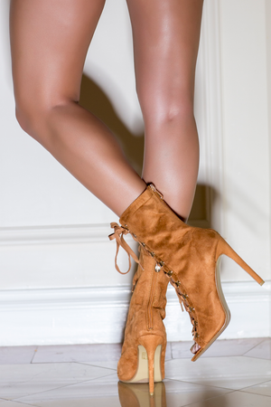 Lace Up Peep Toe Booties