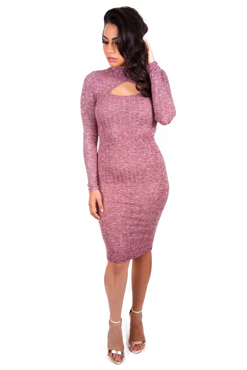 Long Sleeve Sweater Midi Dress