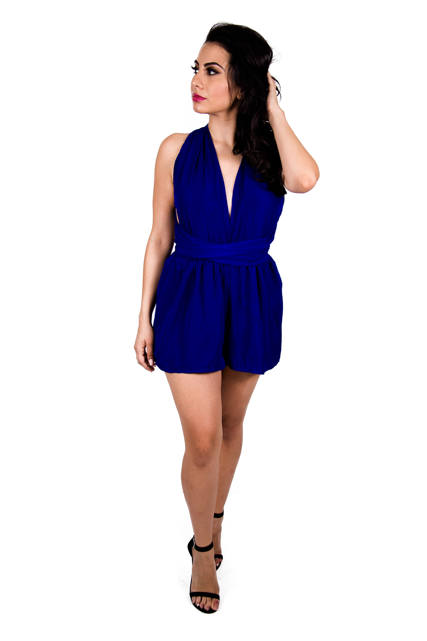 Royal Blue Wrap Around Romper