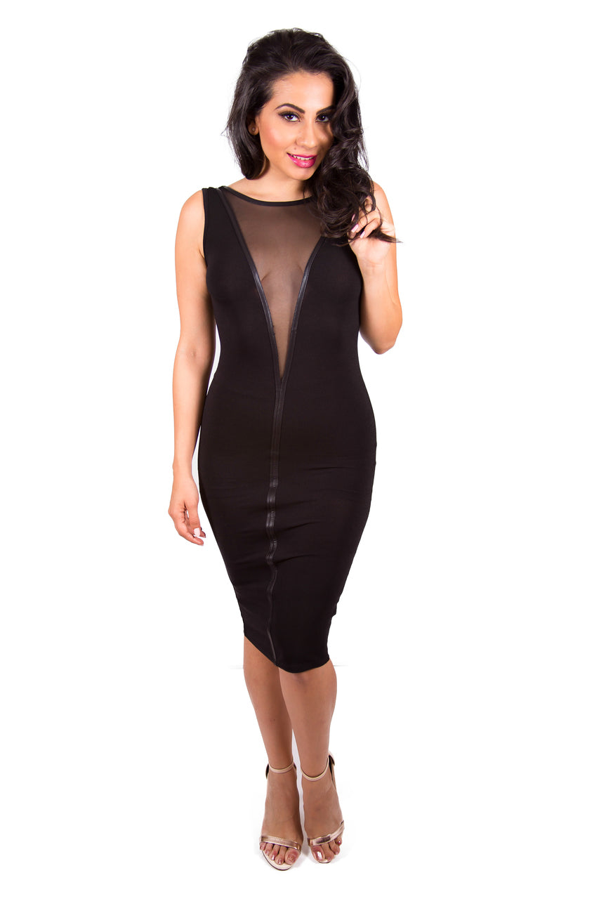 Open Back Mesh Black Midi Dress
