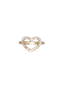 Heart Rhinestone Midi Ring