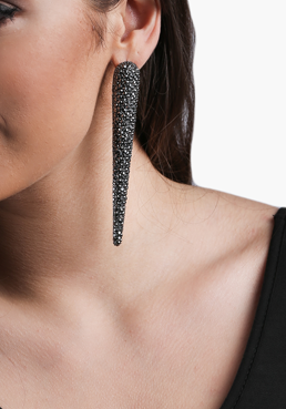Long Spike Crystal Grey Earrings