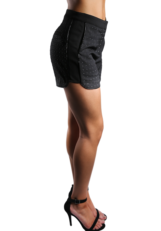 Black Textured Detailed Shorts