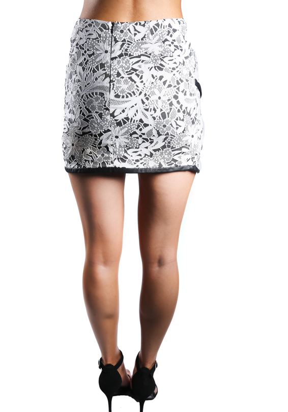 Oriental Laced Fitted Mini Skirt