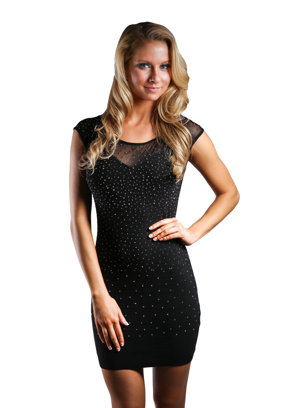 Sparkled Chiffon Mini Dress