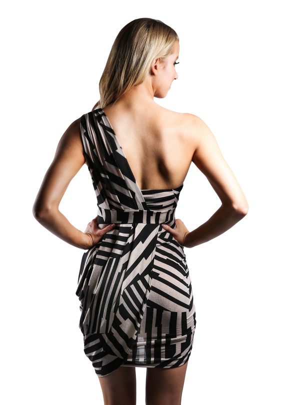 One Shoulder Printed Dress