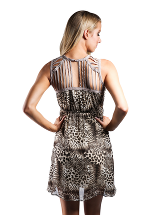 Two Tone Animal Print Dress
