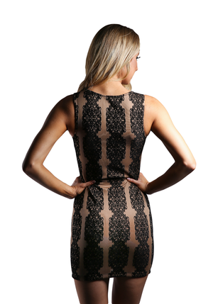 Vertical Print Bodycon Dress