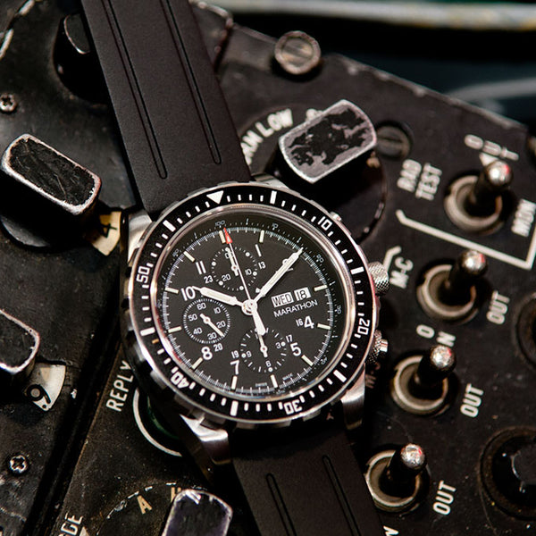 Jumbo Search & Rescue Pilot's Automatic Chronograph with Day, Date & Tritium (CSAR) - No Government Markings on Dial - 46mm - marathonwatch