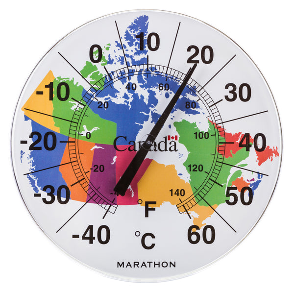 "Marathon  BA030002MAP Canadian 12"" Indoor/Outdoor Dial Thermometer - Map of Canada - marathonwatch"