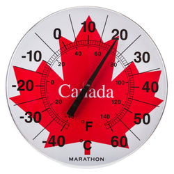 "Marathon BA030002ML Canadian 12"" Indoor/Outdoor Dial Thermometer - Jumbo Maple Leaf - marathonwatch"
