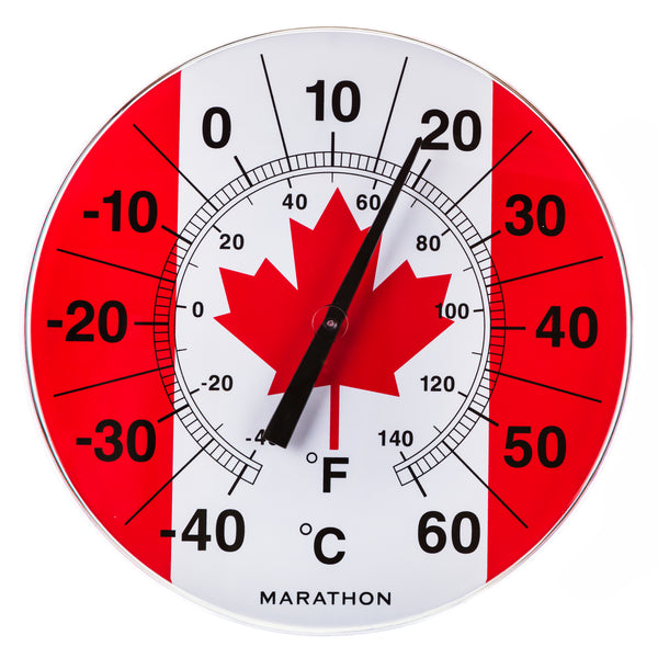 "Marathon BA030002FL Canadian 12"" Indoor/Outdoor Dial Thermometer - Canadian Flag - marathonwatch"