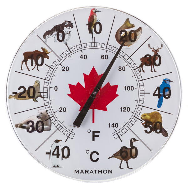 "Marathon BA030002AN Canadian 12"" Indoor/Outdoor Dial Thermometer - Animals of Canada - marathonwatch"