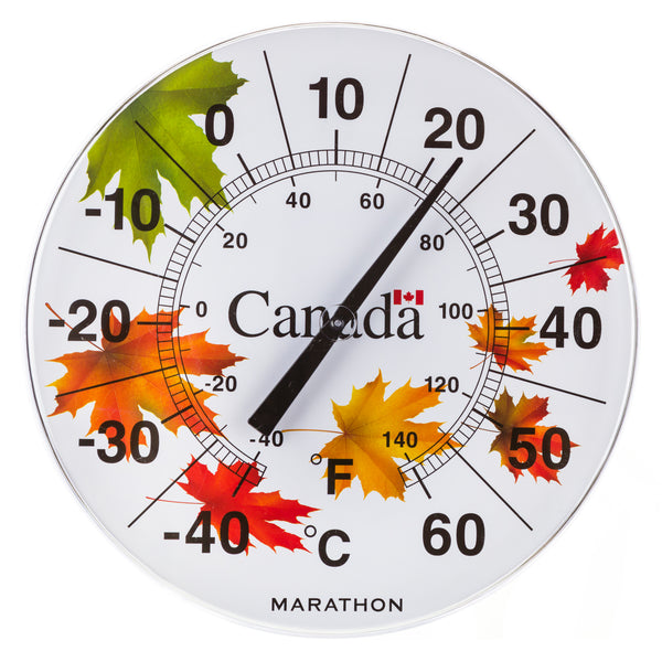 "Marathon BA030002WI Canadian 12"" Indoor/Outdoor Dial Thermometer - Windy Maple - marathonwatch"