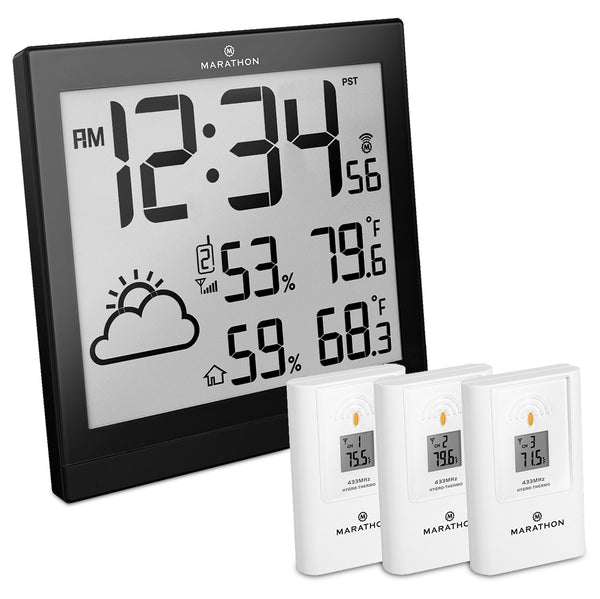 Wireless Weather Station with 3 Remote Sensors - Self-Setting, Self-Adjusting Atomic Time - marathonwatch