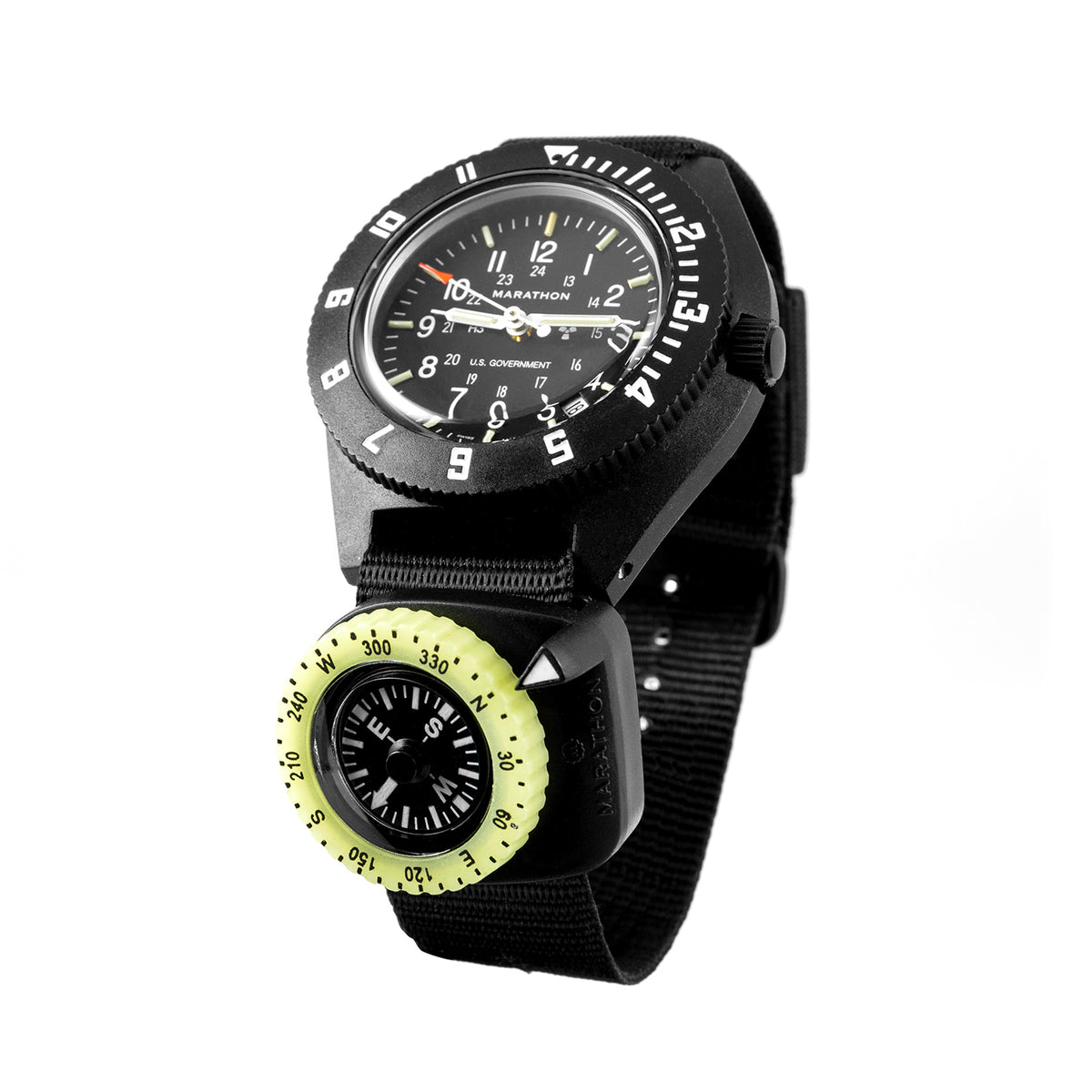 Clip on wrist compass with glow in the dark bezel marathonwatch for Watches with compass