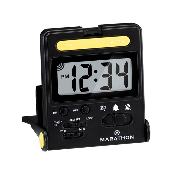 Foldable Compact Travel Alarm Clock with Locking Mechanism - marathonwatch