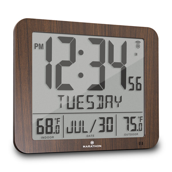 Slim Atomic Full Calendar Wall Clock with Indoor/Outdoor Temperature - marathonwatch