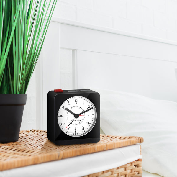 Analog Desk Alarm Clock With Auto-Night Light - marathonwatch