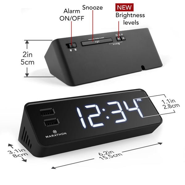 LED Alarm Clock with Two USB Ports - marathonwatch