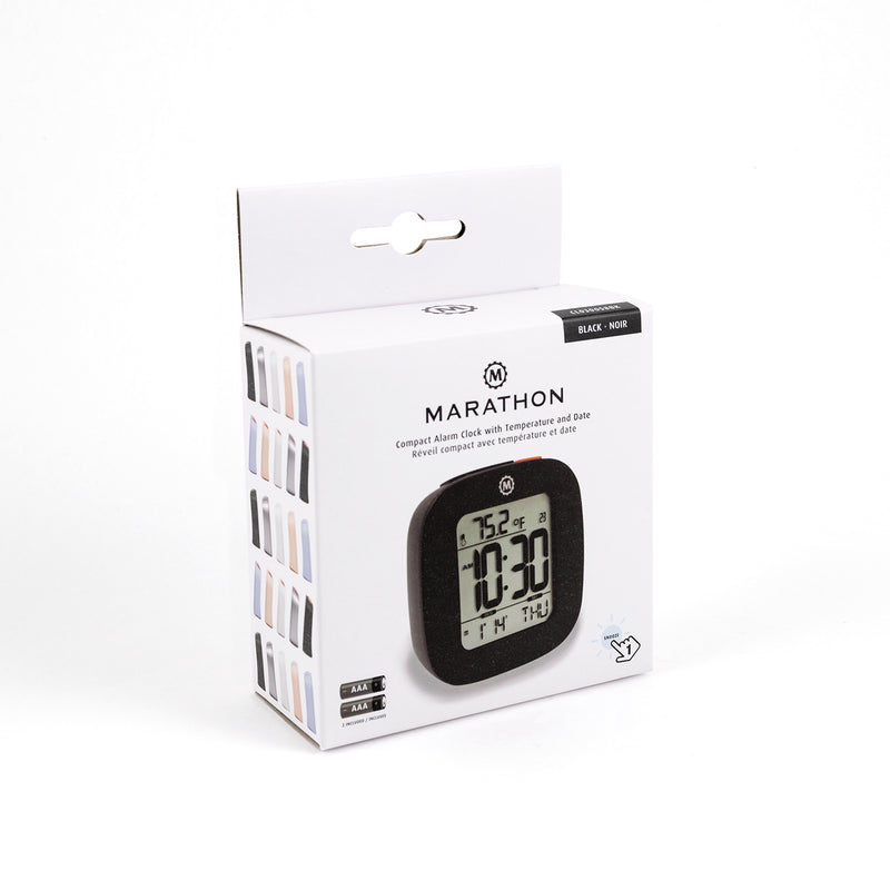 Compact Alarm Clock with Temperature and Date - marathonwatch