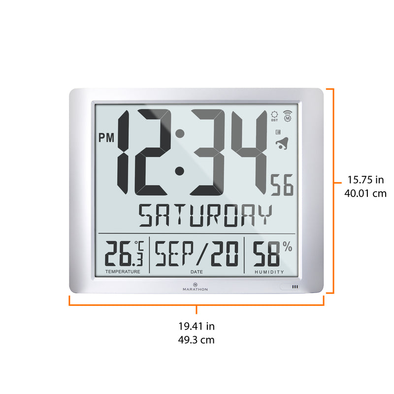 Super Jumbo Atomic Wall Clock with Full Date display and 7 Time Zones - marathonwatch