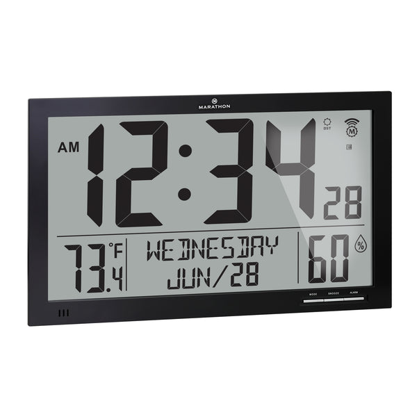 Slim Atomic Wall Clock Jumbo Full Calendar Display with Indoor Temperature & Humidity - marathonwatch