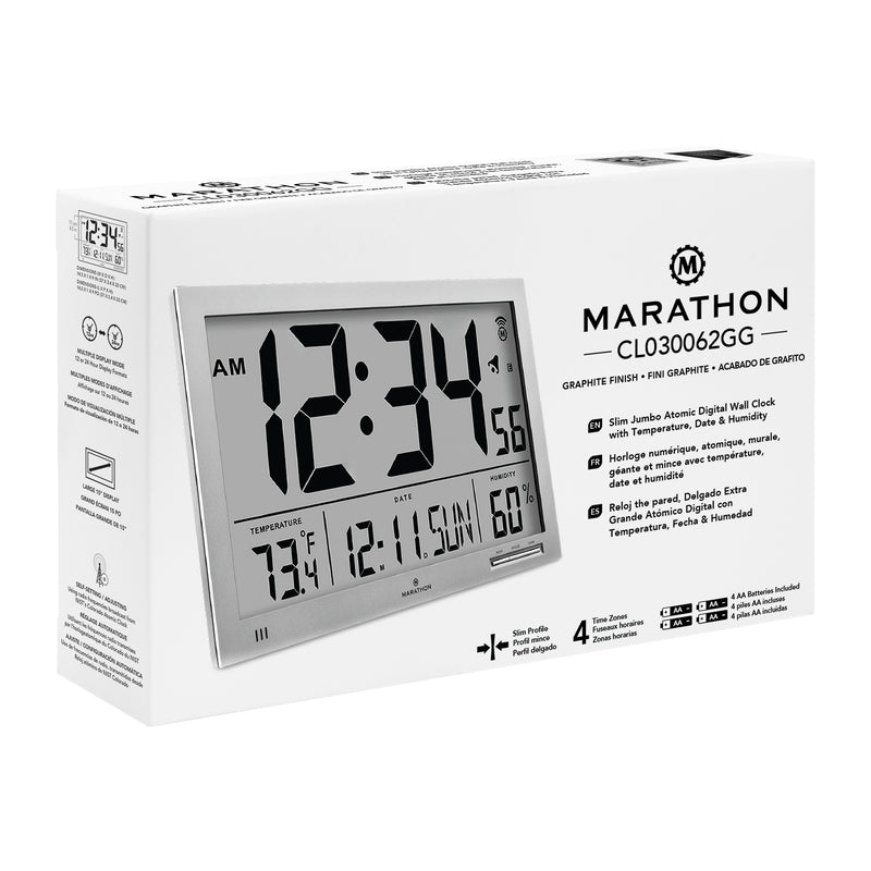 Slim Atomic Wall Clock Jumbo with Indoor Temperature & Humidity - marathonwatch