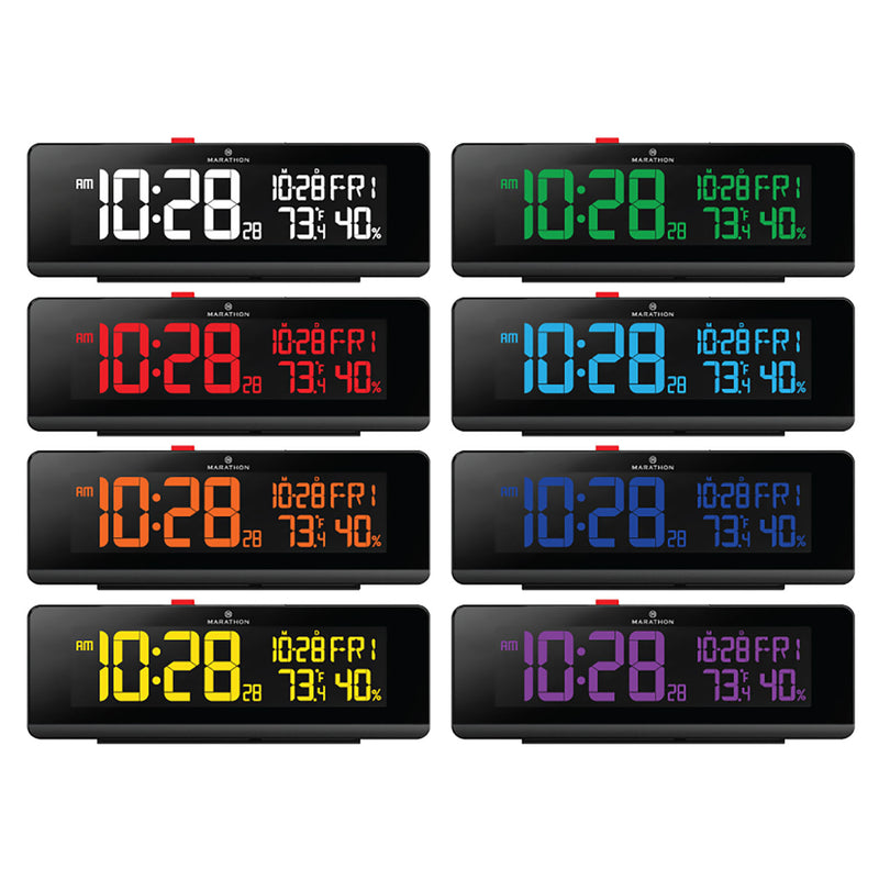 The Spectrum Color Changing LED Display Alarm Clock with Dual USB Charging Station - marathonwatch